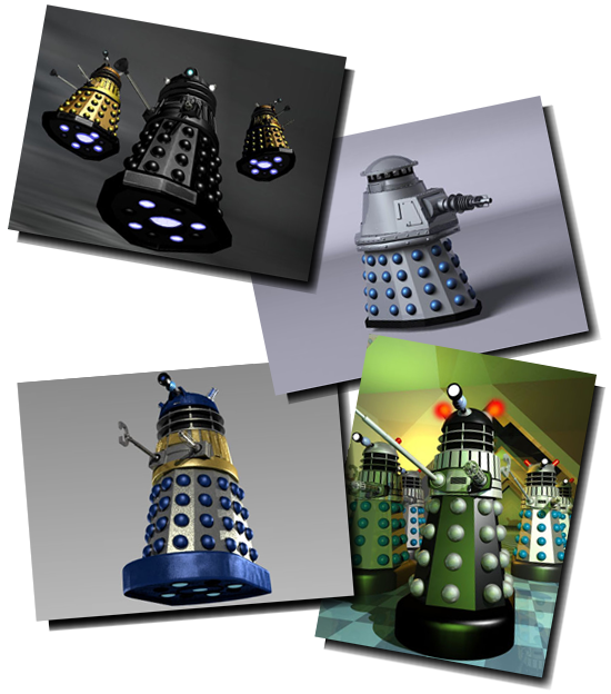 Scenes created using virtual Dalek models